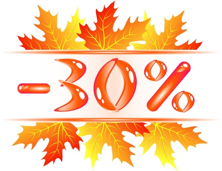 Autumn sale ad with falling maple leaves. 30 persent discount Vector