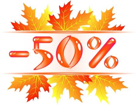 Autumn sale ad with falling maple leaves. 50 percent discount Stock Vector - 13353953