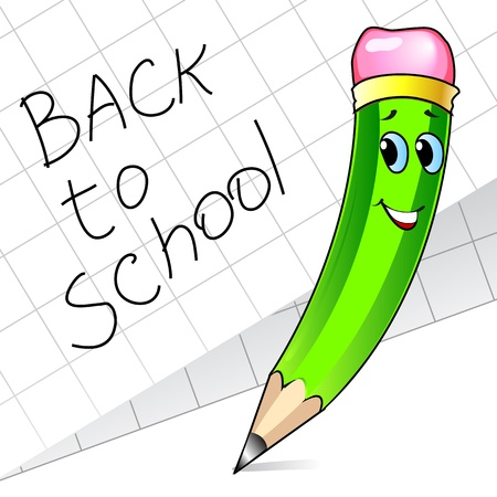 writing equipment: Cute green pencil and paper with inscription back to school