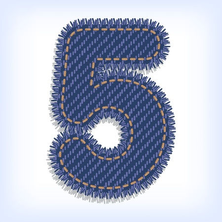 Digit five of jeans alphabet Vector