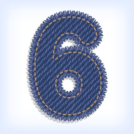 Digit six of jeans alphabet Vector