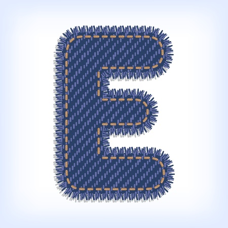 Letter E from jeans alphabet Vector