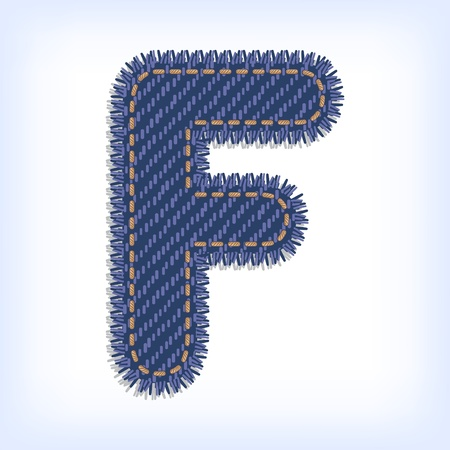 Letter F from jeans alphabet Vector