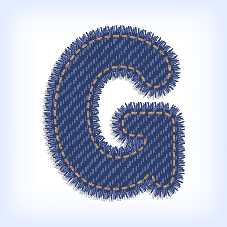 Letter G from jeans alphabet Vector