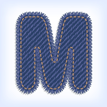 Letter M from jeans alphabet Stock Vector - 13354054