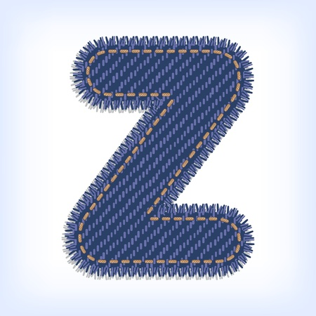 Letter Z from jeans alphabet Vector
