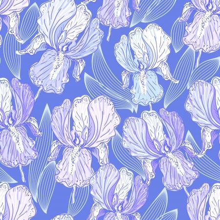natura morta con fiori: Seamless pattern con iris Vettoriali