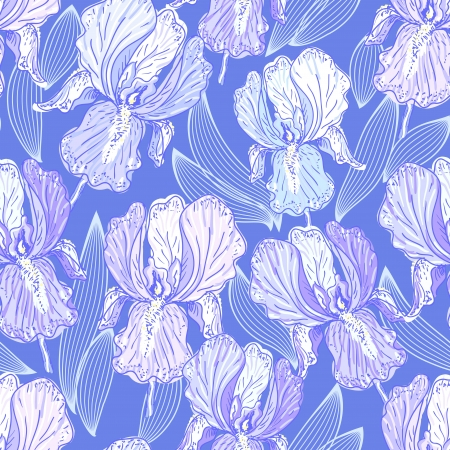 still life flowers: Seamless pattern with iris
