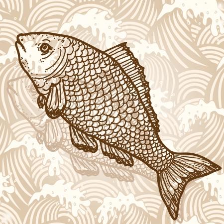 saltwater fish: Pesce di mare Vettoriali