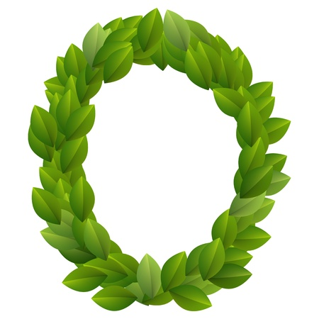 Letter O of green leaves alphabet  Vector