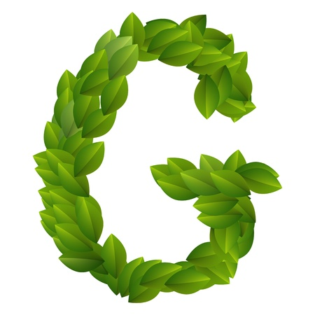Letter G of green leaves alphabet  Vector