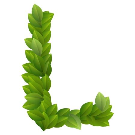 Letter L of green leaves alphabet  Vector