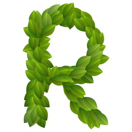 Letter R of green leaves alphabet