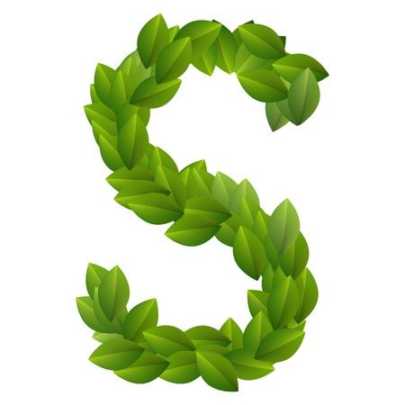 Letter S of green leaves alphabet  Vector