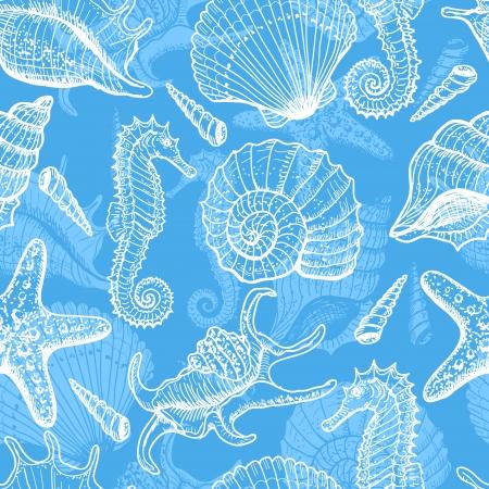 caballo de mar: Por mar dibujado sin patrón Vectores
