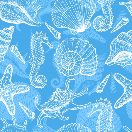 shell fish: Sea hand drawn seamless pattern