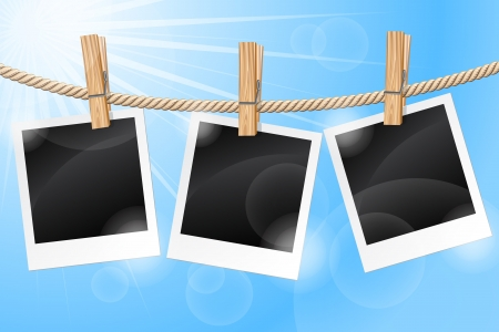Photos hanging on a clothesline Stock Vector - 14445146