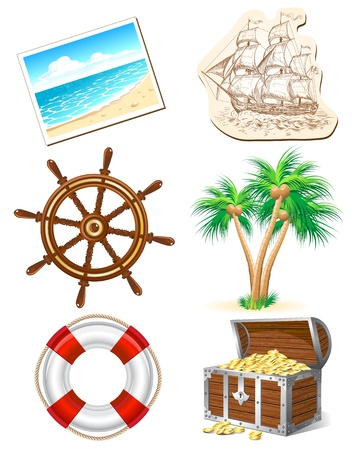 Set of icons for sea travel Stock Vector - 14445154