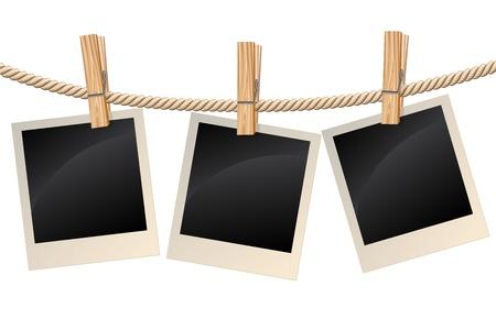Foto appeso su una clothesline Vettoriali