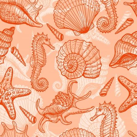 corales marinos: Por mar dibujado sin patr�n Vectores