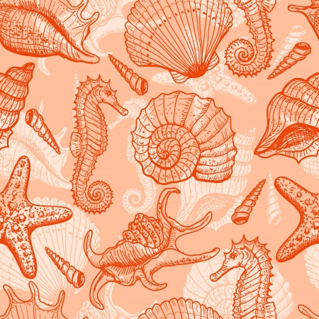 seahorse: Sea hand drawn seamless pattern