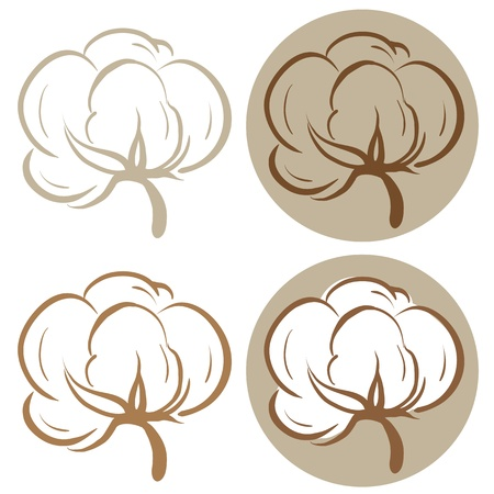 cotton plant: Cotton icons Illustration
