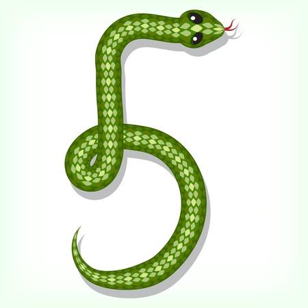 Snake font  Digit 5 Vector