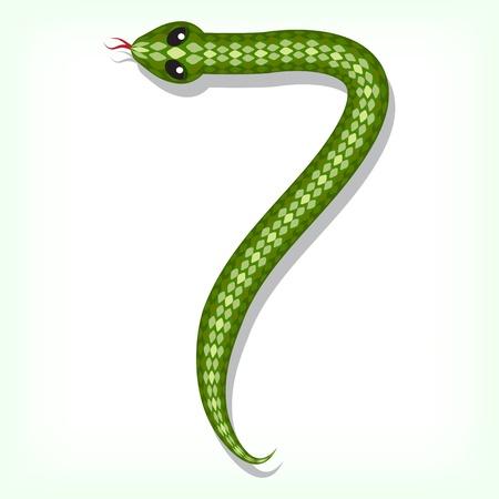 Snake font  Digit 7 Vector