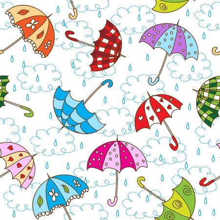 storm rain: Seamless pattern with cute umbrellas
