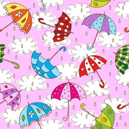 umbrella rain: Seamless pattern with cute umbrellas