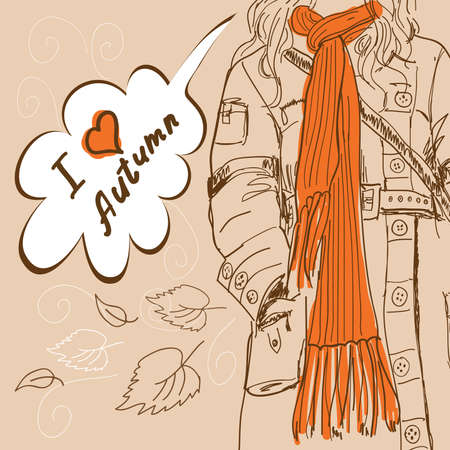 woman scarf: Girl with long orange scarf