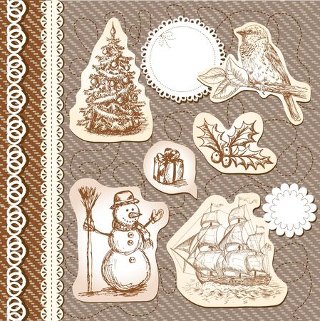 Set of cute vintage design elements Vector