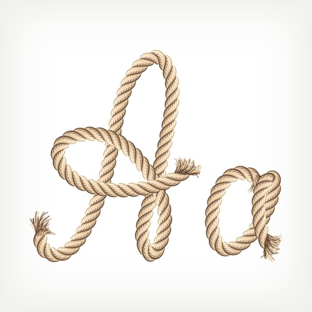 rope knot: Rope alphabet. Letter A