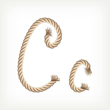 Rope alphabet. Letter C Vector