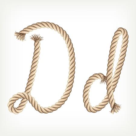 Rope alphabet. Letter D Vector