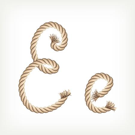 noose: Rope alphabet. Letter E