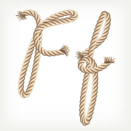 Rope alphabet. Letter F Vector