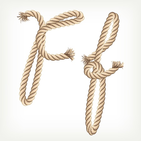 rope knot: Rope alphabet. Letter F Illustration
