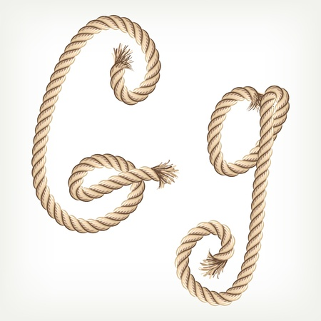 Rope alphabet. Letter G Vector