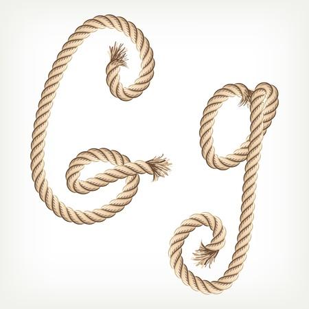 g string: Rope alphabet. Letter G