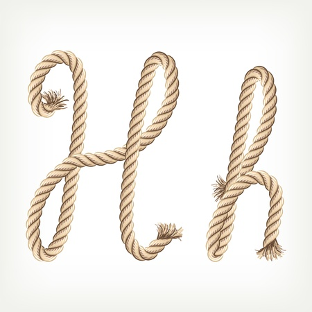 Rope alphabet. Letter H Stock Vector - 14768447