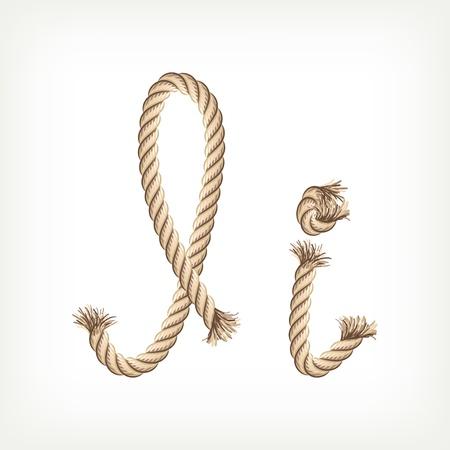 Rope alphabet. Letter I Illustration