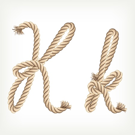 Rope alphabet. Letter K Stock Vector - 14768455