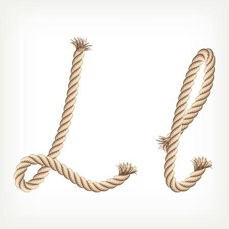 Rope alphabet. Letter L Vector