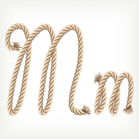 Rope alphabet. Letter M Vector