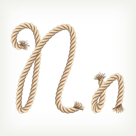 rope knot: Rope alphabet. Letter N