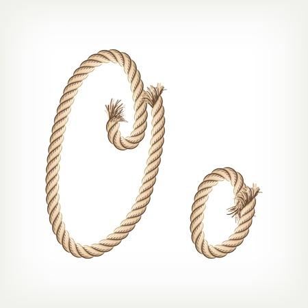 Rope alphabet. Letter O Vector