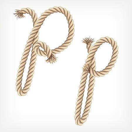 Rope alphabet. Letter P Vector