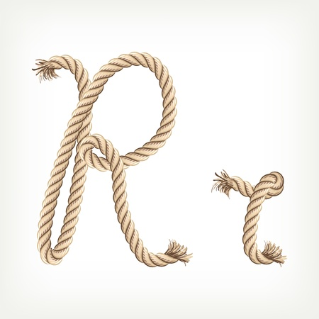 Rope alphabet. Letter R Vector