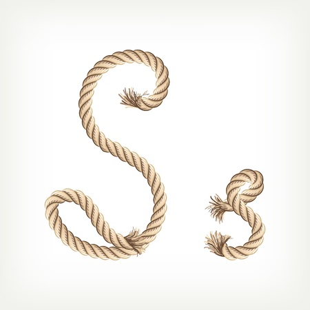 Rope alphabet. Letter S Vector